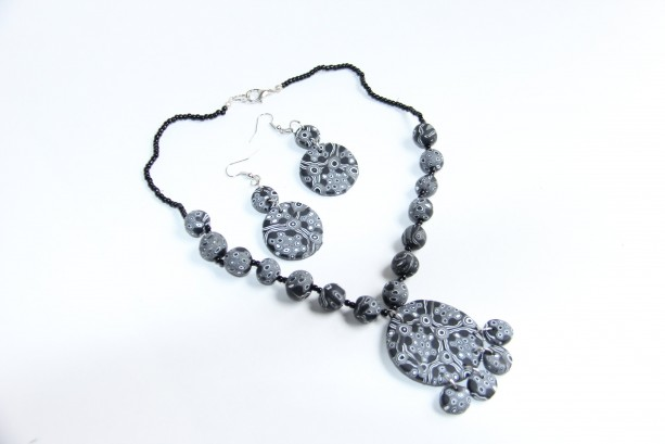 Black and white Polymer clay jewelry