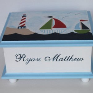 Baby Keepsake Box Memory Box lighthouse & sailboats baby gift
