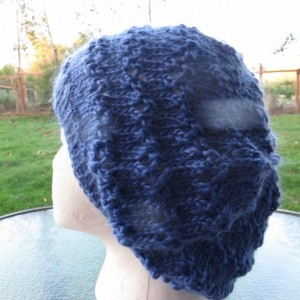 Slouch Beanie Hat Hand Knitted, Bamboo & Silk Yarn - ESTACADA by Anja