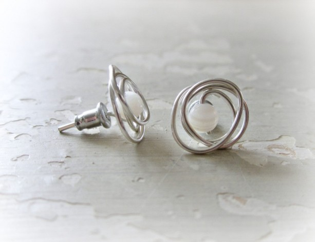 Mother Of Pearl Studs Sterling Stone Stud Earrings Posts