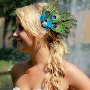 Peacock Fascinator, Peacock Hair Clip, Peacock headpiece, Peacock Wedding, Peacock Bridal Hair Comb, Peacock Blue Green Turquoise, Feathers