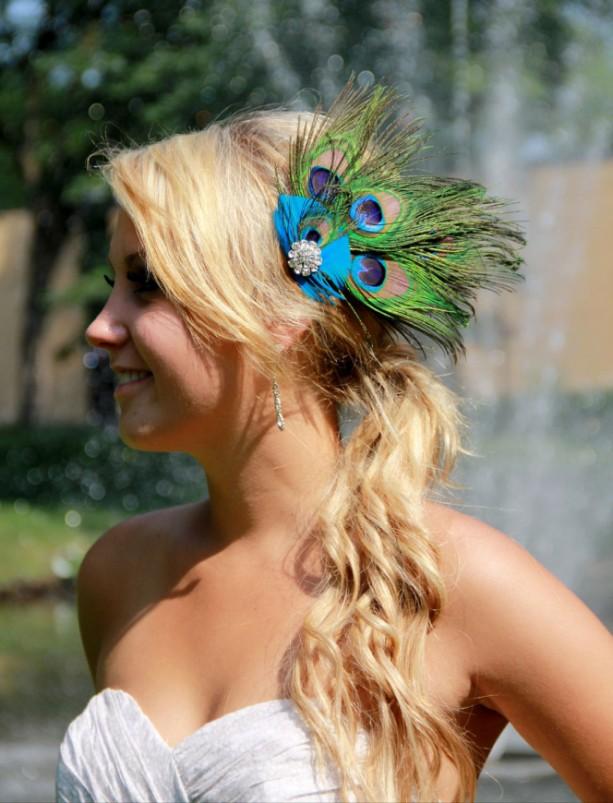 Peacock Fascinator, Peacock Hair Clip, Peacock headpiece, Peacock Wedding, Peacock Bridal Hair Comb, Peacock Blue Green Turquoise, Feathers