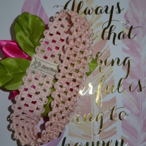 Baby/toddler hot pink flower on stretchable light peachy headband