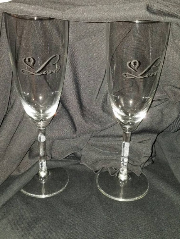 Set of Heart Love Champagne Flutes