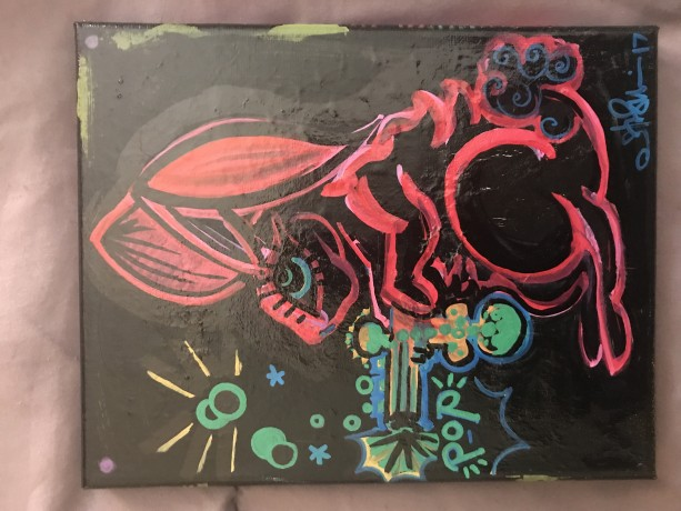 "Bubble Gun Bunny, 8"" x 10"" stretched canvas, acrylic paint"