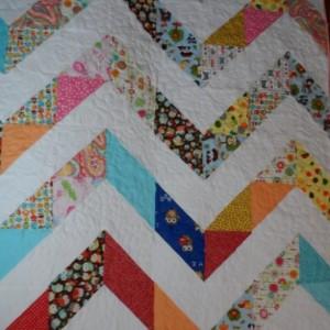 Modern lap quilt fun chevron patchwork quilt