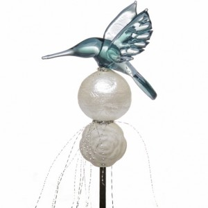 Handblown Glass Hummingbird Orchid & Plant Stake