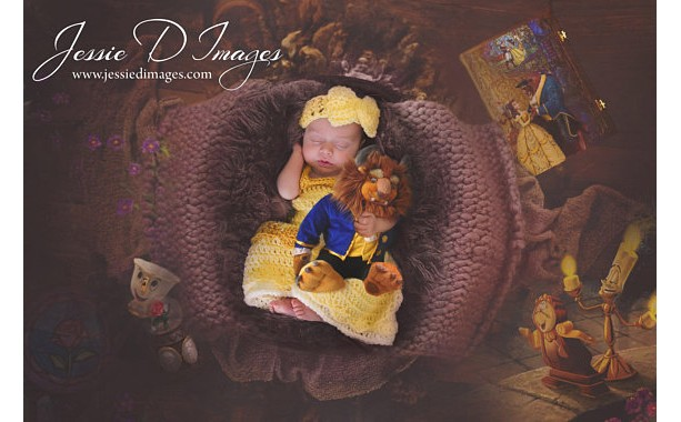 Princess Belle Beauty and the Beast Inspired Costume/Crochet Princess Belle Dress/Princess Photo Prop- MADE TO ORDER
