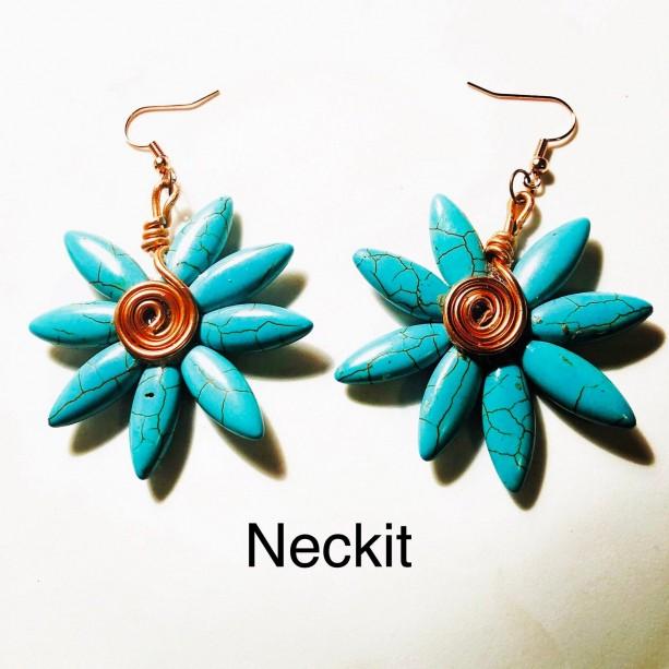 Beaded Turquoise Flower Earrings