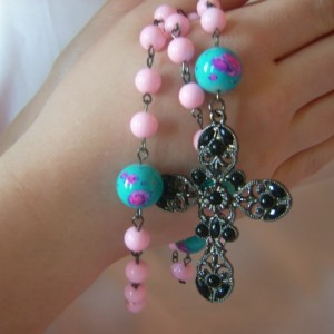 Pink with Blotched Blue Rosary Beads