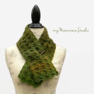 Ladies Handmade Neckwarmer Scarf in Green and Brown - Rainforest