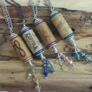 Wine Cork - Necklace - Necklace Made from a Real Wine Cork - Wine Lovers - Various Colors and Wine Brands - Beads - Beaded Necklace - Unique