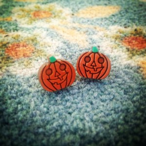 Wooden Hand Painted Halloween Jack O' Lantern Pumpkin Stud Earrings - FREE US SHIPPING