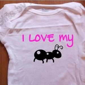 I love my Aunt, I love my Ant onesie, Custom Designed baby onesie, announcement onesie,  Funny onesie