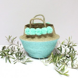 Pastel Blue Pom Poms Double Woven Sea Grass Belly Basket Panier Boule Storage Nursery Basket Beach Picnic Toy Laundry, Baby Blue