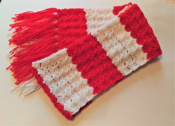 Red White Striped Scarf, Warm, Fringe, Women/Men, Handmade in USA