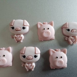 Magnets, 6 Strong Refrigerator Magnets, Cubicle Decor, Locker Magnets, Office Supply, Pig, Pink,  Oink, Farm