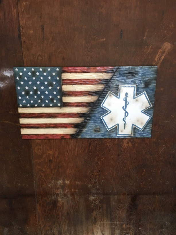 Split American and EMS Flag
