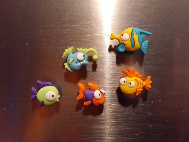 Magnets, 5 Strong Refrigerator Magnets, Cubicle Decor, Locker Magnets, Office Supply,Fish
