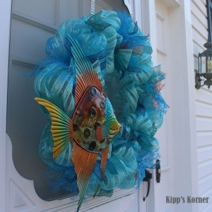 Fish Decor, Deco Mesh Wreath, Ribbon Wreath, Summer Wreath, Aqua Wreath, Blue Wreath, Metal Wreath, Door Decor, Bathroom Decor, Wall Decor