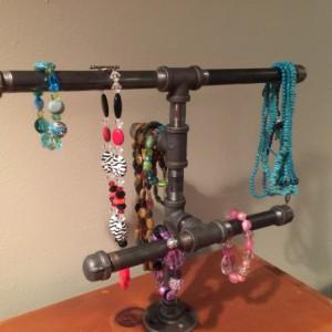 Industrial Black Pipe Jewelry, Necklace, Bracelet Storage rack, necklace stand, jewelry storage