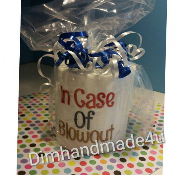 In case of Blowout Embroidered Toilet paper. Great gift! Comes gift wrapped!