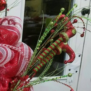 Christmas Holiday Candy Cane Elf Wreath Decoration