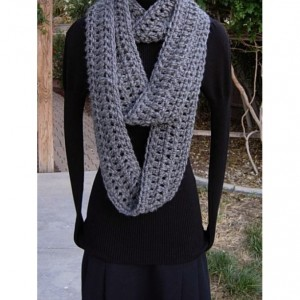 INFINITY SCARF Loop Cowl, Solid Charcoal Grey Gray Extra Soft Long Narrow Crochet Knit Winter Skinny..Ready to Ship in 3 Days