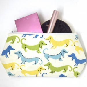 Weenie Dog Cosmetic Bag - Dachshund Fabric, Travel Makeup Bag, Large Cosmetic Bag, Dachshund Fabric, Dachshund Print, Zippered Pouch