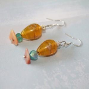 Yellow Orange Shell Turquoise Heart Silver Drop Earrings