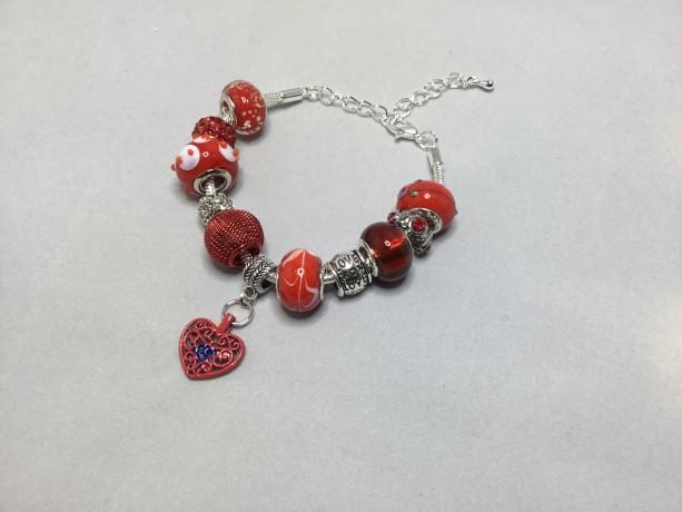 Red European Charm Bracelet