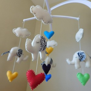 Baby Mobile - Elephant Mobile - Cloud Mobile - Clouds Mobile Nursery - Baby Shower - ecofriendly nursery decor