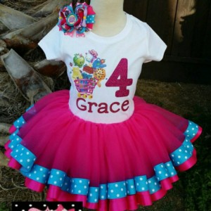 Personalized Shopkins ribbon trimmed tutu set , Shopkins tutu, ribbon trim tutu, custom tutu, birthday outfit, Shopkins party, Shopkins
