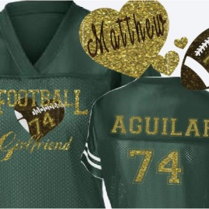 Custom  Football Player Girlfriend Jersey School spirit Jersey in Team  Colors glitter and bling football girlfriend shirt