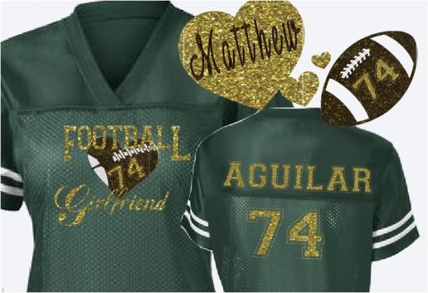 f105b606c692f Custom Football Player Girlfriend Jersey School spirit Jersey in Team  Colors glitter and bling football girlfriend shirt