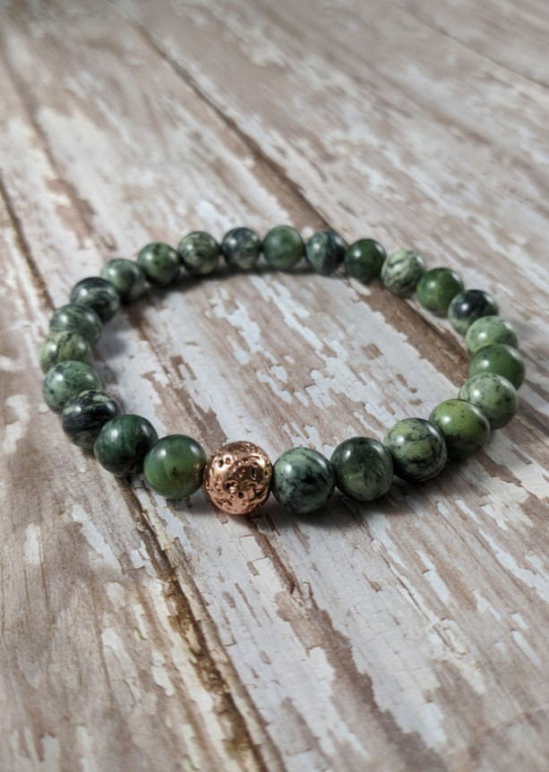 The Zachary | handmade green beaded stretch bracelet, forest jade beads, rose gold lava beads, men's / unisex jewelry, Gifts for Him