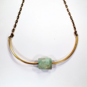 Raw Amazonite Brass Choker Natural Gemstone Jewerly Amazonite Jewelry Gemstone Choker Amazonite Necklace Adjustable Choker
