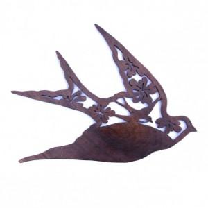 Hand Cut Walnut Sparrow with Flowers