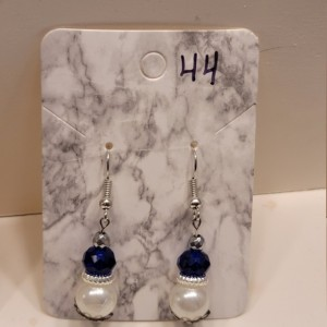 Blue gem and imitation white pearl earrings