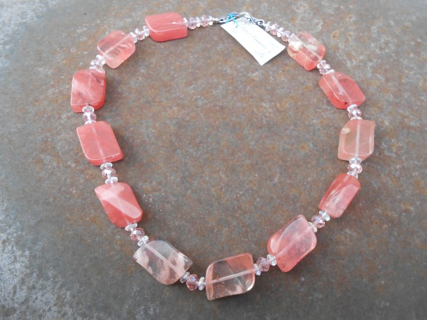Necklace-Watermelon Tourmaline, Peach and Clear Crystals
