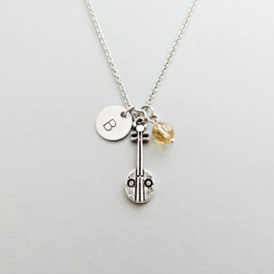 Banjo Initial Necklace Personalized Hand Stamped - with Silver Banjo Charm and Swarovski