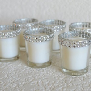 Votive Candles, Silver Bling Wedding Rhinestone Votives, Wedding , Anniversary, Shower, Christmas Holiday Party Bling Votive Candles 25 Pcs