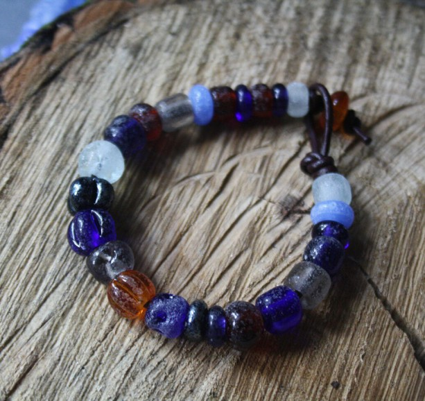 Glass Beaded Bracelet - Matte Blue - Archeological