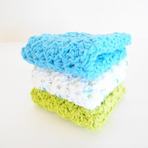 Crochet Cotton Dishcloths, Set of Three