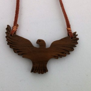 Handcrafted Walnut Eagle Necklace on Leather Cord