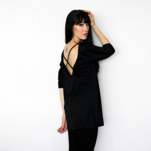 Black Half Sleeve Low Back Ballerina Tunic Shirt with Strap Detail