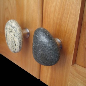 Sea Stones Stone and Stainless Steel Cabinet Knobs and Drawer Pulls, Natural Stone, Kitchen and Bathroom