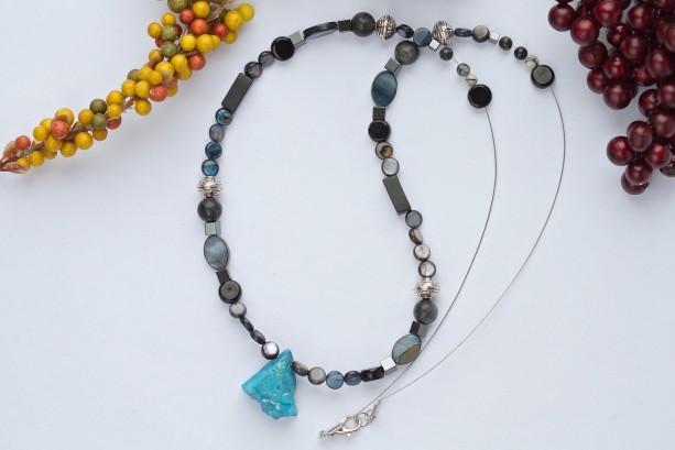 Blue agate semi precious stone dark style beaded necklace/Nickel free/Tibetan silver,river shell,onyx/Blue,black,white,silver