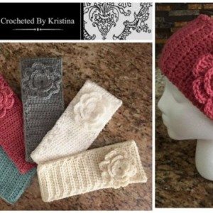 Crocheted Headband/Ear Warmer/Head Warmer with flower