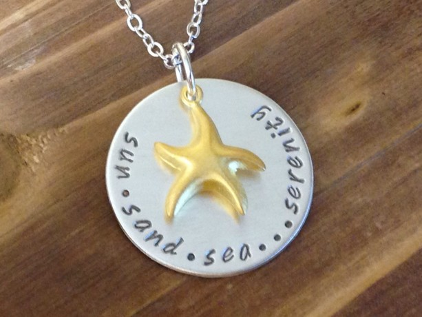 Hand Stamped Sun Sand Sea Serenity Sterling Silver necklace with Gold Starfish, Starfish, Beach Jewelry, Starfish Jewelry, Nautical Jewelry